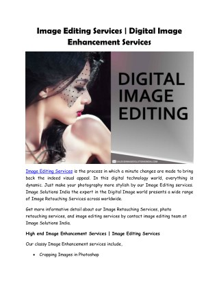 Image Editing Services | Digital Image Enhancement Services