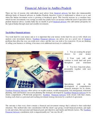 Financial advisors in Andhra Pradesh | Financial advisors