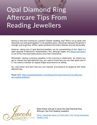 Opal Diamond Ring Aftercare Tips From Reading Jewellers