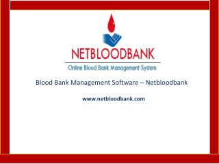 Blood Bank Management Software - Netbloodbank