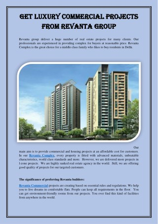 Get Luxury Commercial Projects from Revanta Group