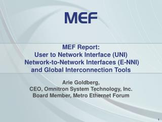 MEF Report:  User to Network Interface (UNI)   Network-to-Network Interfaces (E-NNI) and Global Interconnection Tools