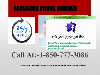 List Of Issues Facebook Phone Number 1-850-777-3086