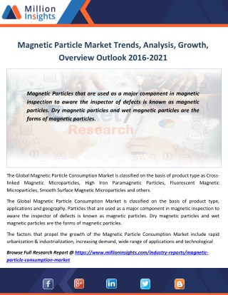 Magnetic Particle Market Segmentation, Opportunities, Trends & Future Scope to 2021