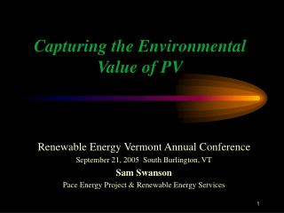 Capturing the Environmental Value of PV