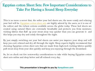 Egyptian cotton Sheet Sets: Few Important Considerations to Take For Having a Sound Sleep Everyday