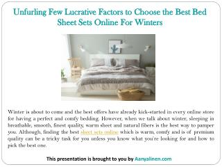 Unfurling Few Lucrative Factors to Choose the Best Bed Sheet Sets Online For Winters