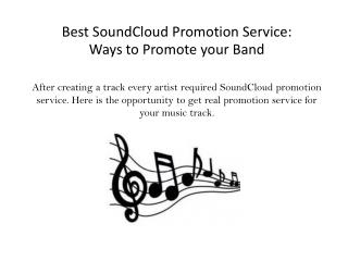 Best SoundCloud Promotion Service: Ways to Promote your Band