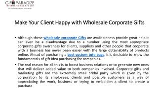 Make Your Client Happy with Wholesale Corporate Gifts