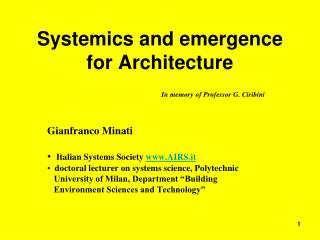 Systemics and emergence for Architecture