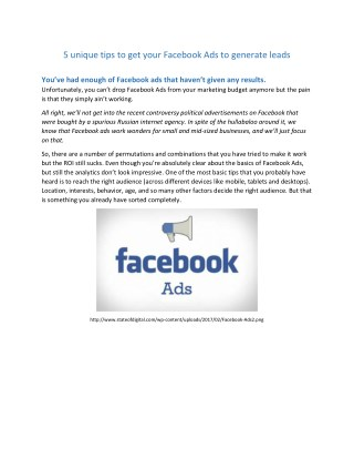 5 unique tips to get your Facebook Ads to generate leads