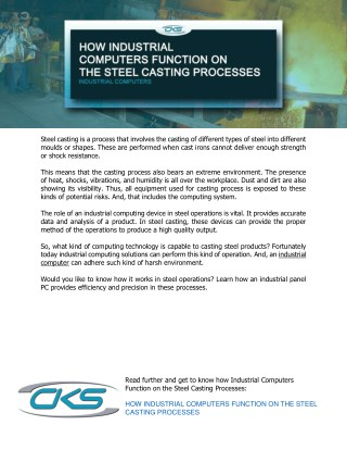 How Industrial Computers Function on the Steel Casting Processes