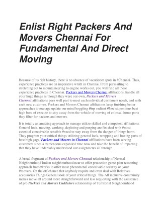 Enlist Right Packers And Movers Chennai For Fundamental And Direct Moving