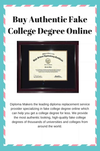 Buy Authentic Fake College Degree Online