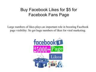 Buy Facebook Likes for $5 for Facebook Fans Page