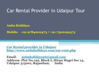 Car rental provider in udaipur tour