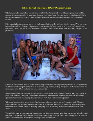 Where to Find Experienced Party Planners Online