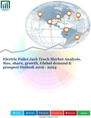 Electric Pallet Jack Truck Market Analysis, Size, share, growth, Global demand & prospect Outlook 2016 - 2024