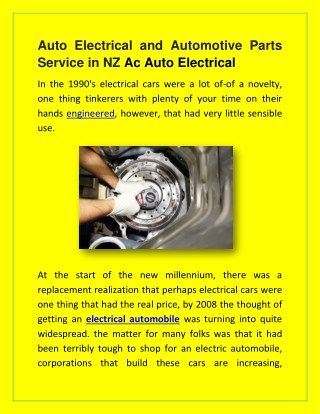 Auto electrical and automotive parts service in nz ac auto electrical