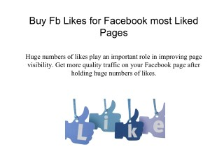Buy Fb Likes for Facebook Most Liked Pages