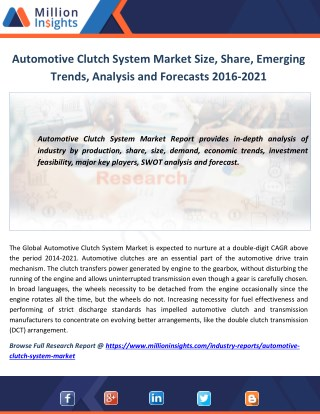 Automotive Clutch System Market Size, Share, Emerging Trends, Analysis and Forecasts 2016-2021