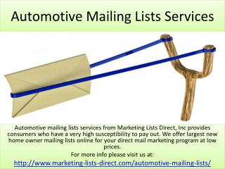 Automotive Mailing Lists Services