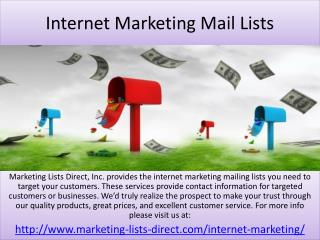 Internet Marketing Mail lists