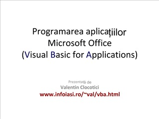Programarea aplicatiilor  Microsoft Office Visual Basic for Applications