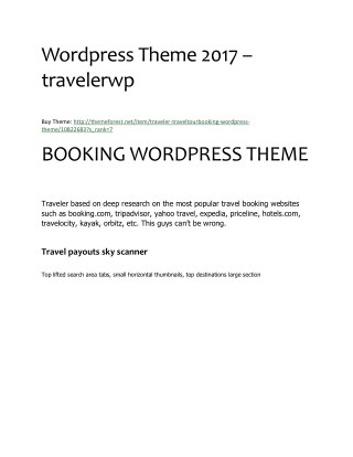 Traveler Affiliate Booking Wordpress Theme 2017 - travelerwp