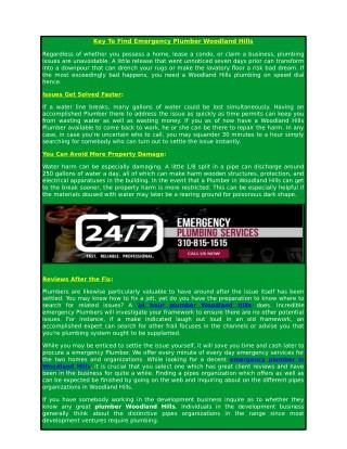 Key To Find Emergency Plumber Woodland Hills