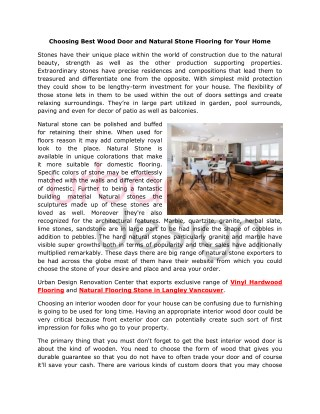 Choosing Wood Doors and Natural Flooring Stone