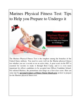 Marines Physical Fitness Test: Tips to Help you Prepare to Undergo it
