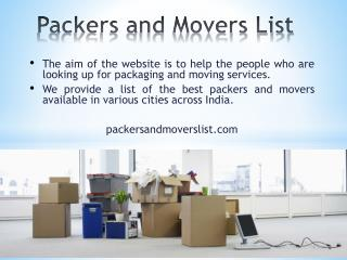 Packers and Movers List