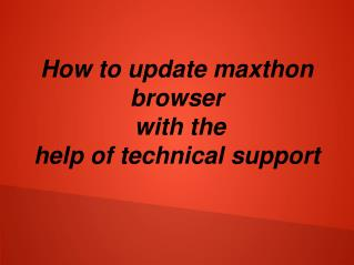 How to updated maxthon browser