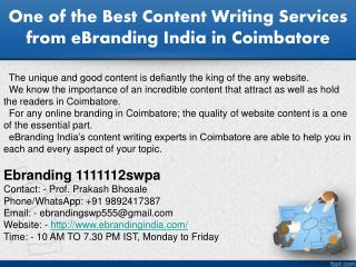 5.One of the Best Content Writing Services from eBranding India in Coimbatore
