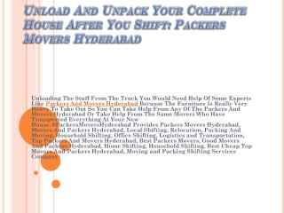 Unload And Unpack Your Complete House After You Shift: Packers Movers Hyderabad