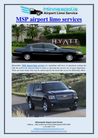 MSP airport limo services