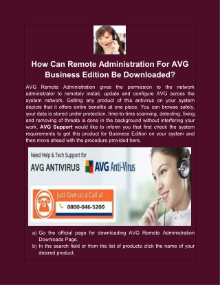 How Can Remote Administration For AVG Business Edition Be Downloaded?