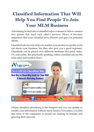 Classified Information That Will Help You Find People To Join Your MLM Business