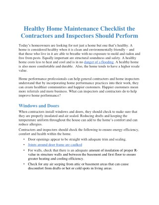 Healthy Home Maintenance Checklist