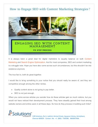 How to Engage SEO with Content Marketing Strategies