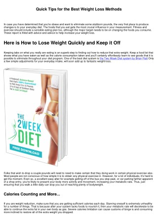Healthy Tips for Losing Weight Quickly
