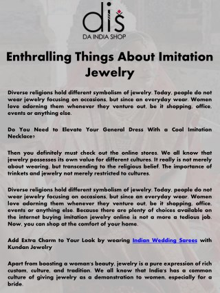 Enthralling Things About Imitation Jewelry