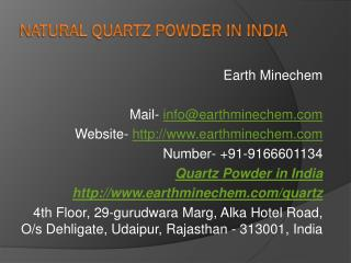 Natural Quartz Powder in India