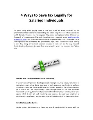 4 Ways to Save tax Legally for Salaried Individuals