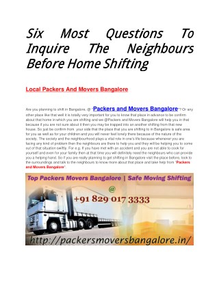 Six Most Questions To Inquire The Neighbours Before Home Shifting