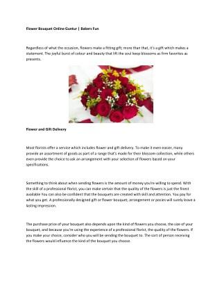 Flower Bouquet Online Guntur   Bakers Fun
