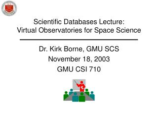 Scientific Databases Lecture: Virtual Observatories for Space Science