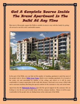 Get A Complete Source Inside The Brand Apartment In The Delhi At Any Time