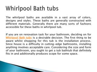 Whirlpool Bath tubs